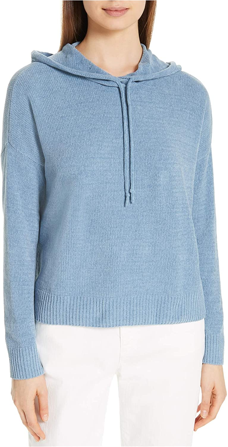 Eileen Fisher Womens Chenille Hooded Sweater