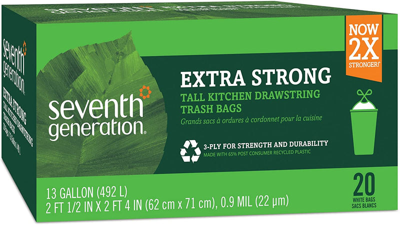 Seventh Generation Trash Bags, Tall Kitchen, 13-Gallon, 20-Count Boxes (Pack of 12)