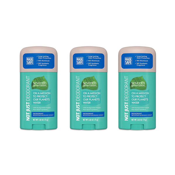 Seventh Generation Aluminum-Free Deodorant Mountain Morning Scent Biodegradable Formula 2.65 oz 3 Count