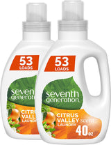 Seventh Generation Concentrated Laundry Detergent, Citrus Valley scent, (53 Loads Each), 40 Fl Oz, Pack of 2