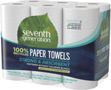 Seventh Generation Paper Towels, 100% Recycled Paper, 2-ply, 6 Roll, 6 Count (Pack of 2)
