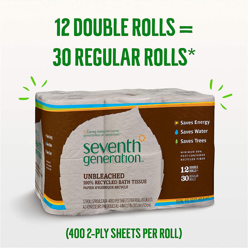 Seventh Generation Unbleached Bathroom Tissue Roll, 12 Count, Pack of 4