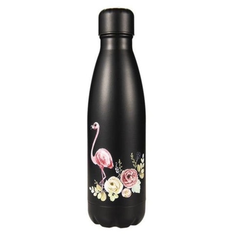 Bouteille isotherme flamant rose noir