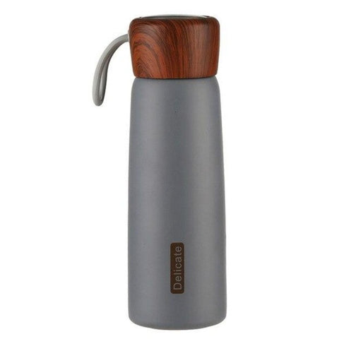 Gourde isotherme inox et bois
