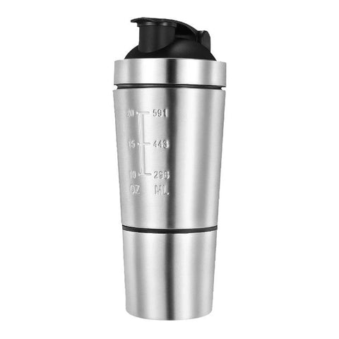 Gourde shaker double compartiment inox