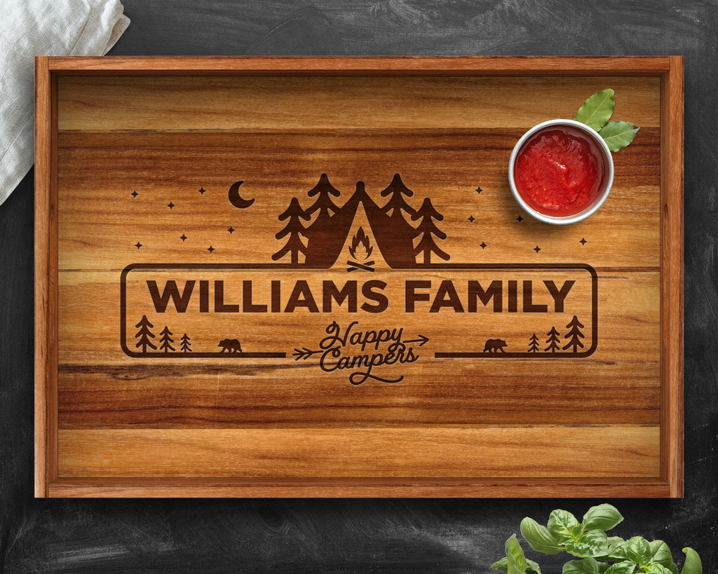 Teak Wood Engraved Tray - Wooden Tray with Handles - Breakfast in Bed Tray - Personalized Gifts - Gifts for Men