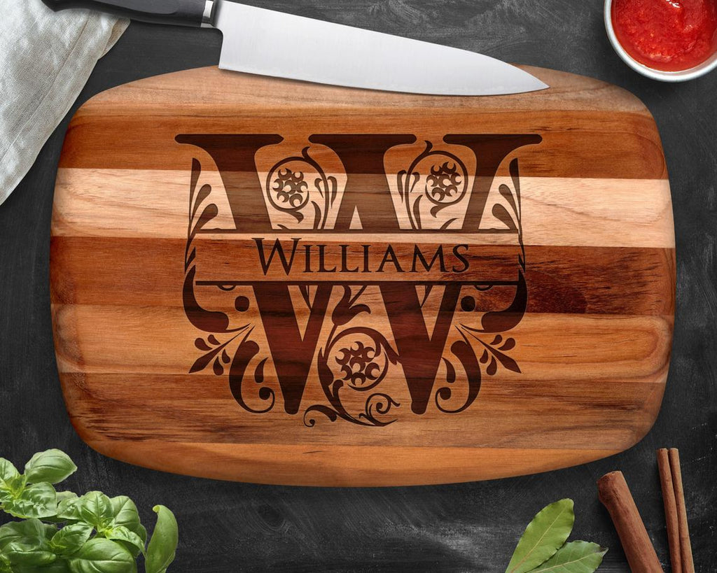 Split Letter Teak Cutting Board
