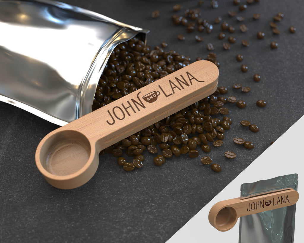 Engraved Coffee Scoop, Bag Clip, Coffee Spoon, Wooden Coffee Scoop, Kitchen tools, Coffee gift, Coffee Lover Gift