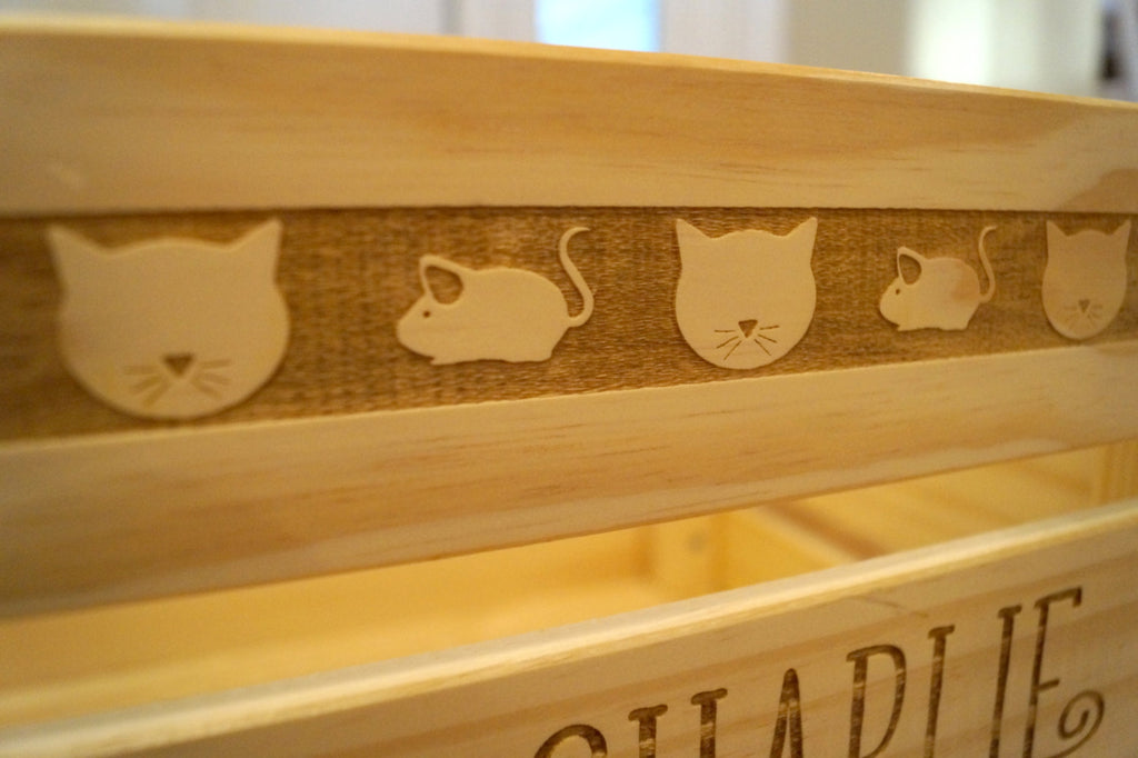 Cat Toy Crate - Cat Toy Box - Cat Toy Organization - Cat Lover Gifts - Wooden Crate - Wood Box