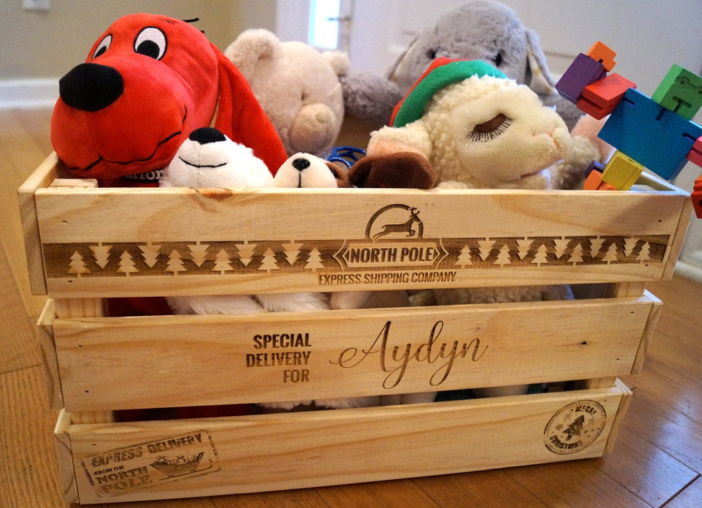 Wood Christmas Toy Box - Christmas Eve Crate - Gift Box - Present Box - Christmas 2019 - Family Christmas Fun - Christmas Traditions - Large Wood Toy Box
