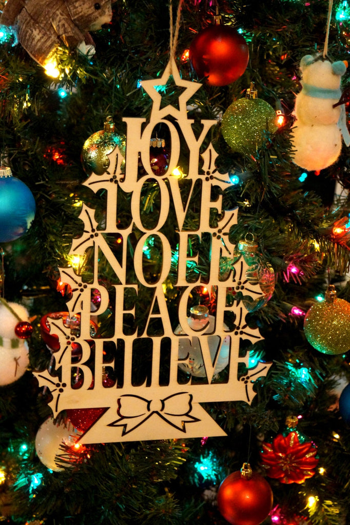 Wooden Laser Cut Christmas Decoration Joy Love Noel Peace Believe Merry Christmas Ornament Door Wreath Flourish Wood Garnish