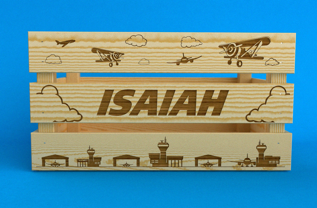 Large Wooden Airplane Crate -  Wood Toy Box - Airplane Nursery - Kids Toy Storage - Personalized Crate - Personalized Toy Box - Toy Organization - Boys Room