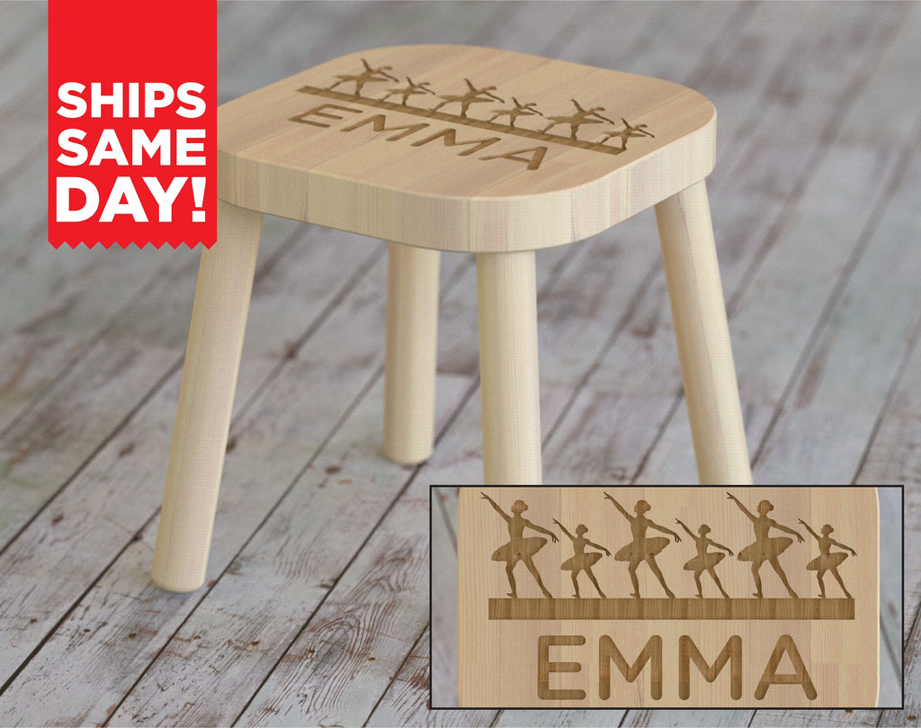Ballet, Kids Stool, Girls Gifts, Childrens Engraved Seat, Personalized Monogram Name Nursery Bedroom Baby Shower Birthday Gift ST10