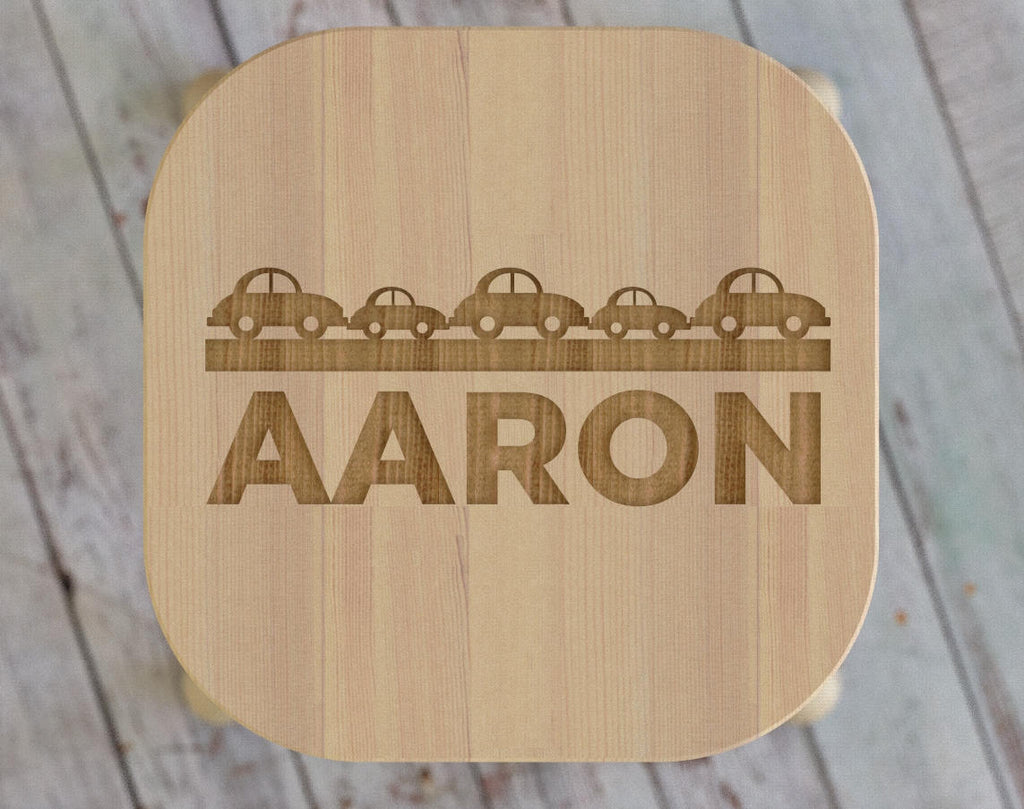 Custom Kid's stool with Car motif - Childrens Engraved Seat, Personalized Monogram Name Nursery Bedroom Baby Shower Birthday Gift ST09