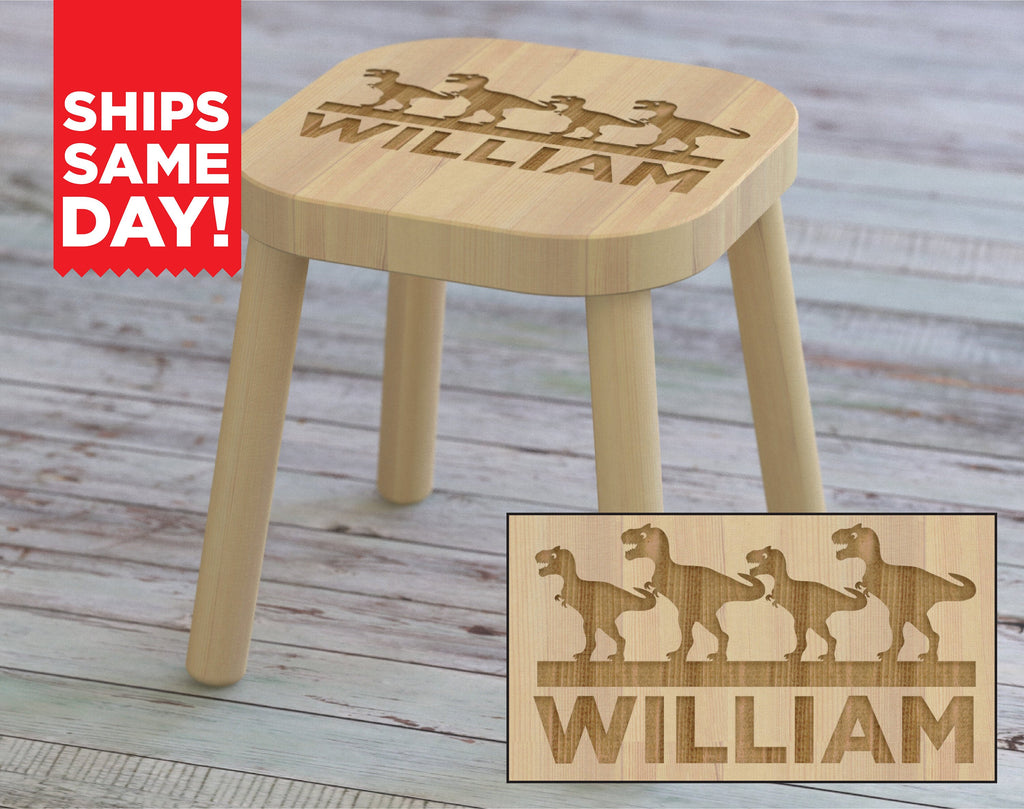 T-Rex, Custom Kid's stool, Tyrannosaurus Rex, T Rex, Childrens Engraved Seat, Personalized Name Nursery Bedroom Baby Shower Birthday Gift