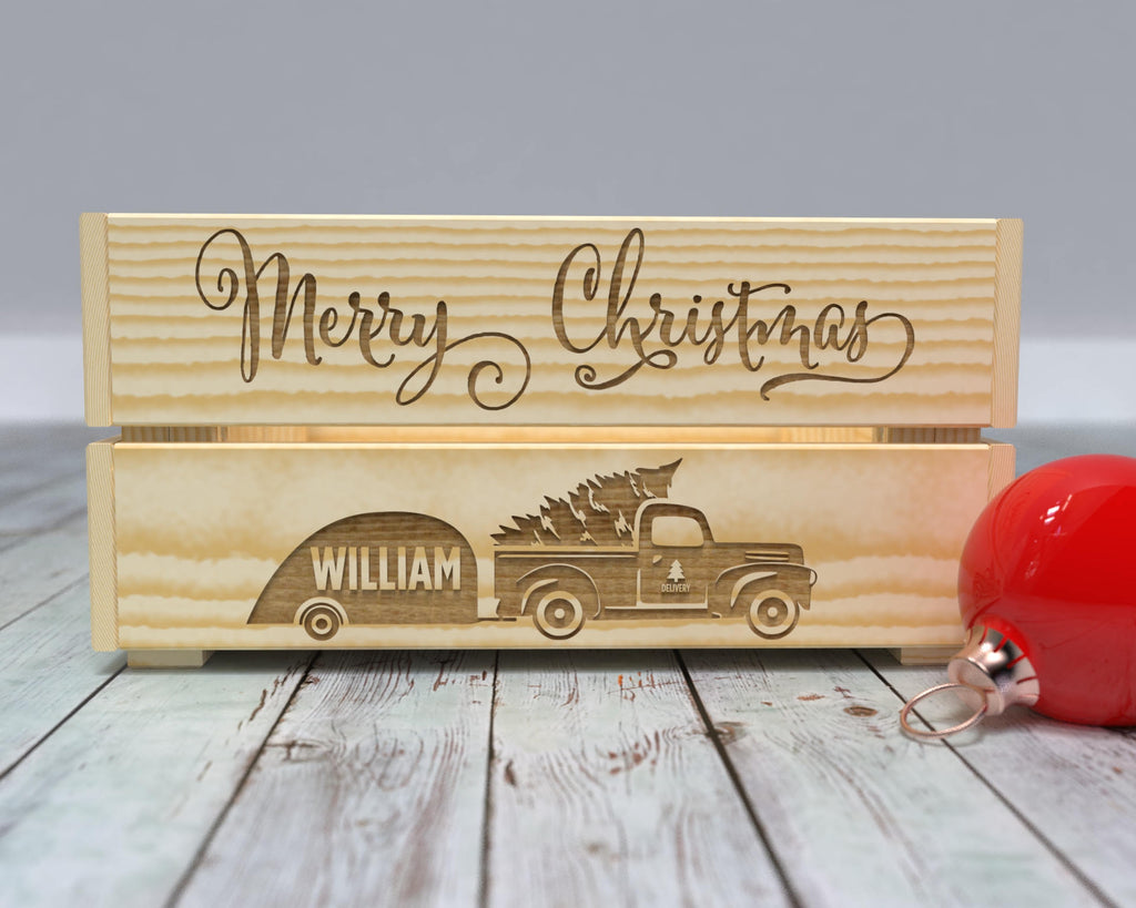 Christmas Tree Pick Up Truck Crate - Christmas Gift for Kids - Engraved Christmas Crate - Wooden Christmas Box - Small Wooden Toy Box - Kids Christmas Presents - Toddler Christmas Gifts