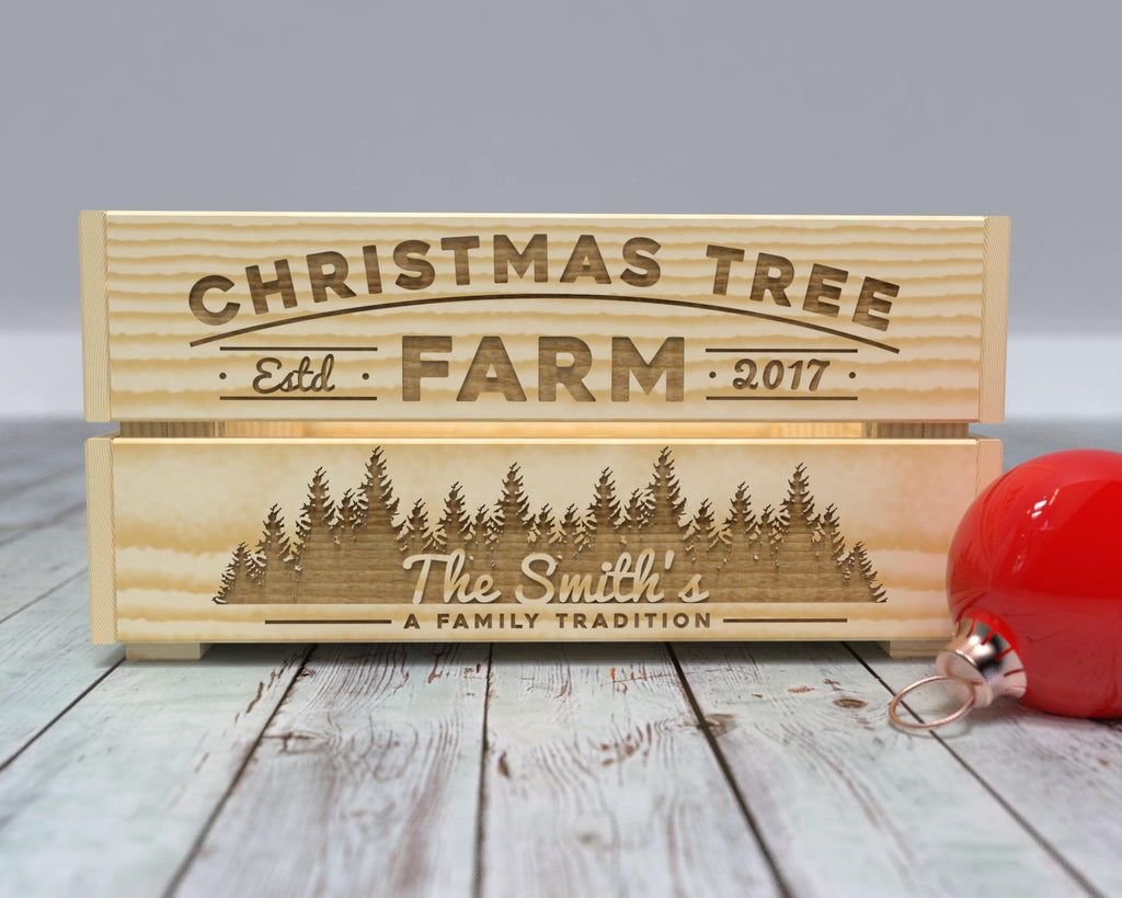 Christmas Tree Farm Crate, Personalized Christmas Decor, Farmhouse Christmas, Wood Christmas Box, Engraved Box, Christmas Decor, Xmas Trees