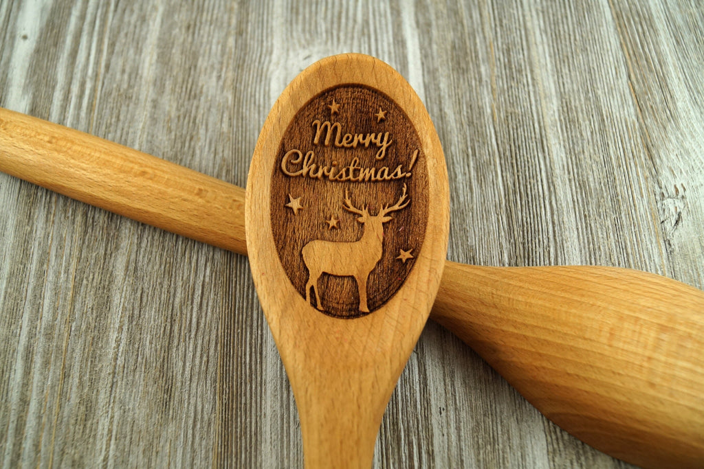 Christmas 2020 Gifts, Personalized Wooden Spoon, Christmas Wooden Spoon, Custom Wooden Spoon, Deer Gifts, Baking Gift, Christmas Gift, Coworker Gift