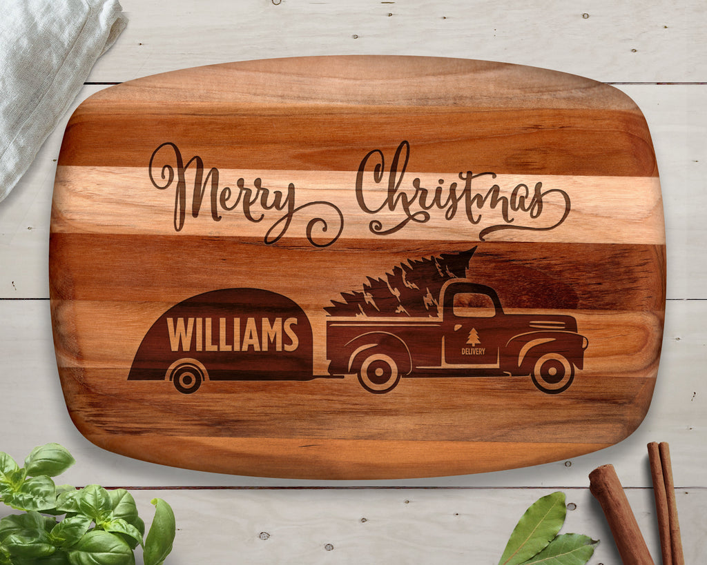 Christmas Decor, Personalized Teak Cutting Board, Christmas Gift, Rustic Christmas, Christmas Sign, Xmas Tree Truck, Christmas Decoration