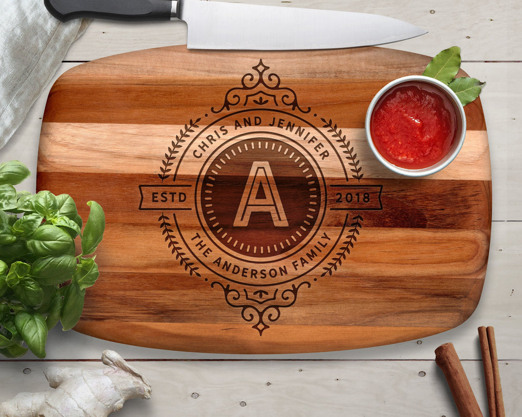 Engraved, Cutting Board, Teak, Monogrammed Gifts, Gifts for Him, Gifts for Her, Monogram Gift, Cutting Boards, Laser Engraved, Personalized