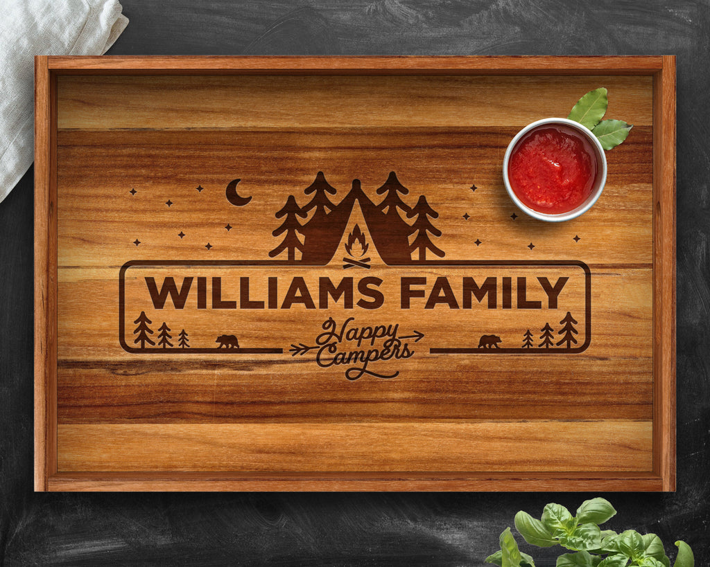 Camping, Camping Decor, Personalized Tray, Teak, Happy Campers, Camping Sign, Camping Gifts, Camping Gear, Gifts for Him, Gifts for Her
