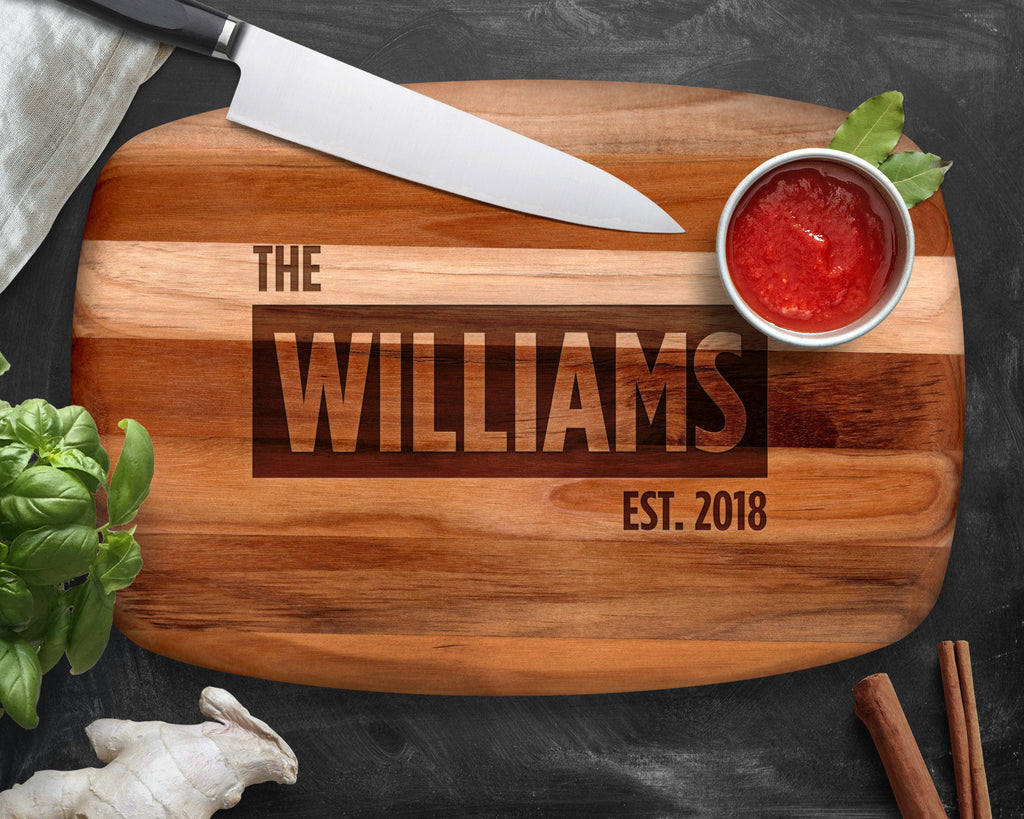 Personalized Cutting Board, Teak, Wedding Gift, Engagement, Gift for Wife, Custom Cutting Board, Personalized Kitchen, Kitchen Gift, Baking