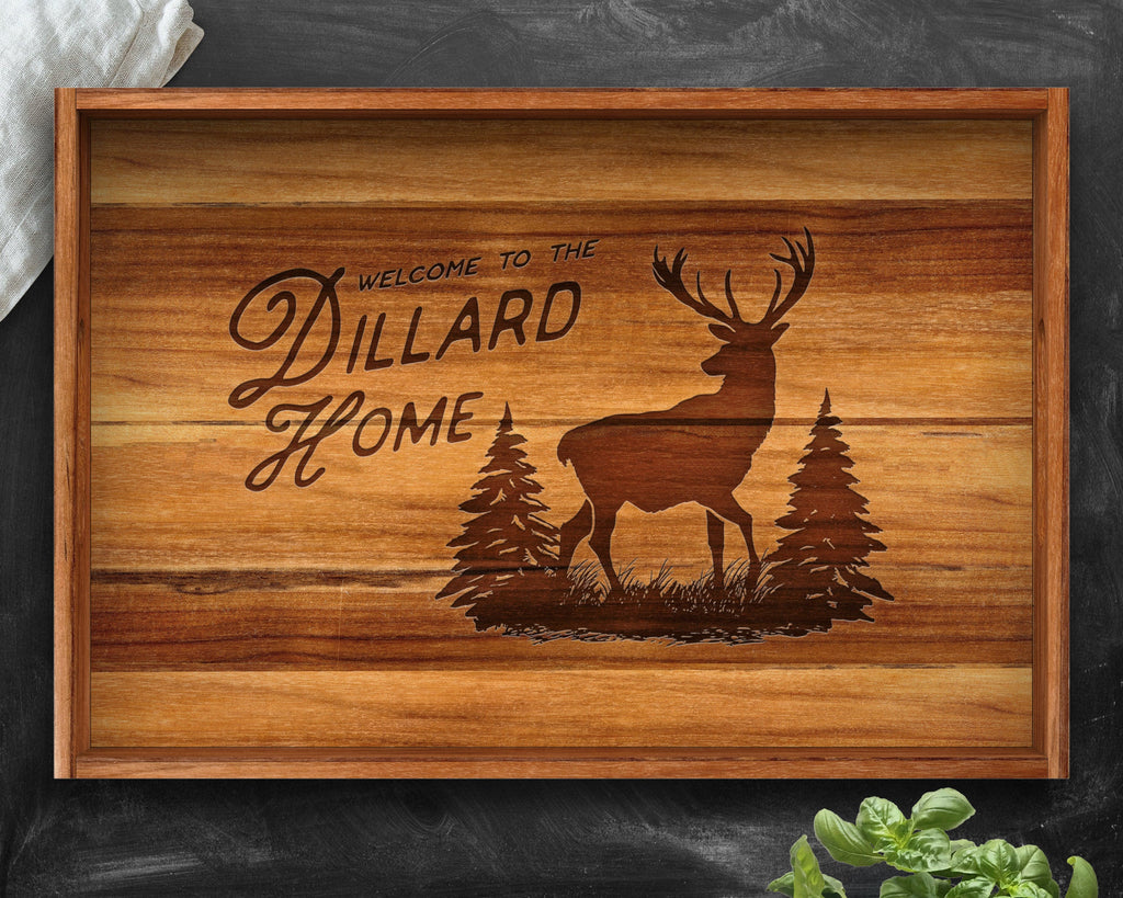 Gifts for Men, Teak, Serving Tray, Personalized Christmas Gifts, Rustic Home Decor, Rustic Gifts, Hunting Gifts, Deer Hunting, Deer Decor