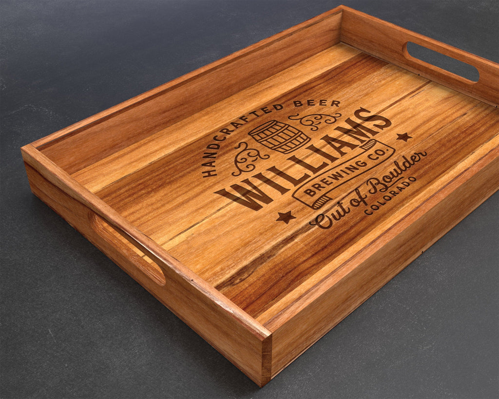 Serving Tray, Teak, Custom Serving Tray, Tray with Handles, Engraved, Tray, Breakfast in Bed, Breakfast Tray, Wood Tray, Coffee Table Tray