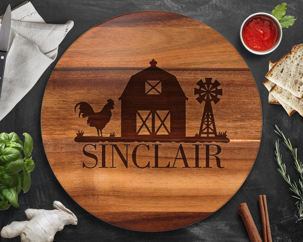 Farmhouse Decor, Farm Decor, Lazy Susan, Fixer Upper, Name Sign, Custom Lazy Susan, Personalized Lazy Susan, Rooster, Roosters Decor, Barn
