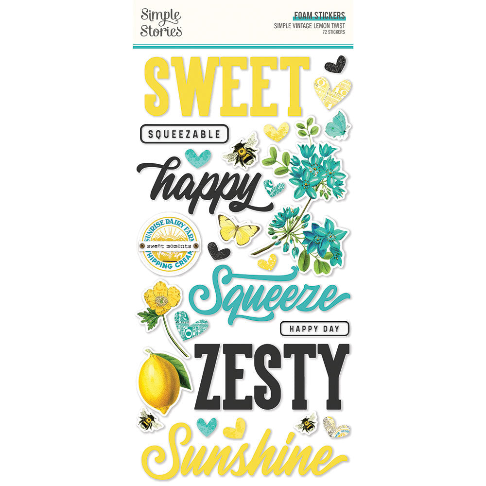 PRE-ORDER Simple Stories - Lemon Twist - Foam Stickers