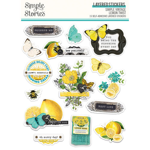 PRE-ORDER Simple Stories - Lemon Twist - Layered Stickers