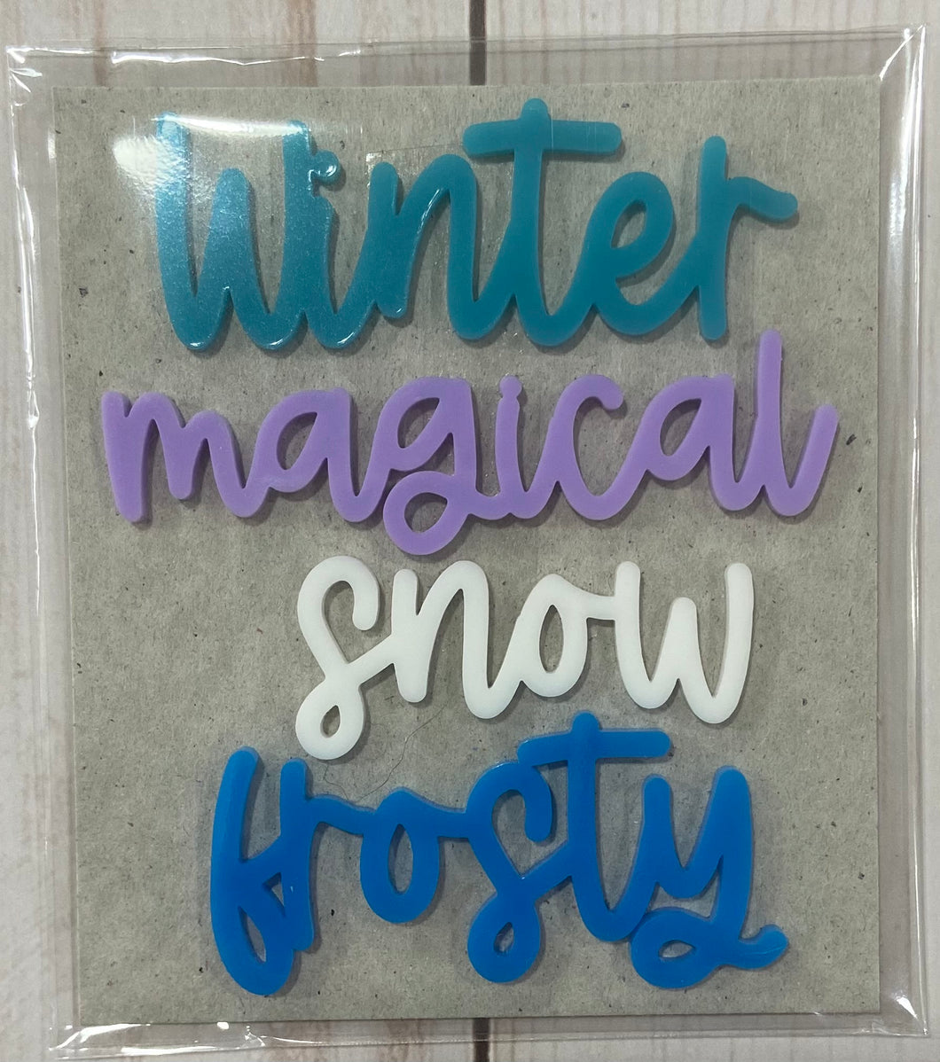 Winter acrylic words