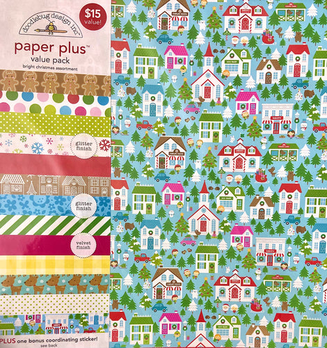 Doodlebug Paper Plus Pack- Bright Christmas