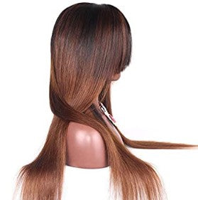 #4/33 Ombre 100% Virgin Human Hair Straight 13x4 Transparent Lace Front Wig with Bang