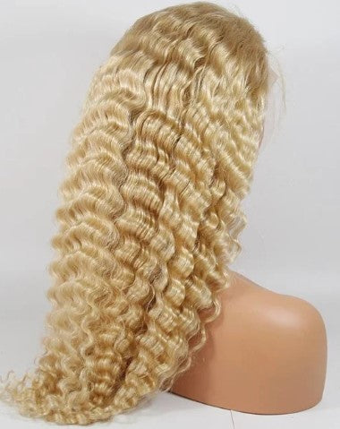 #613 100% Virgin Human Hair Deep Wave 13x4 Transparent Lace Front Wig