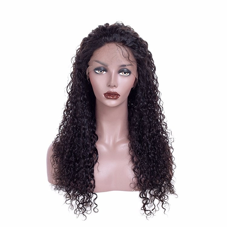 100% Virgin Human Hair Deep Curly 13x6 Transparent Lace Front Wig