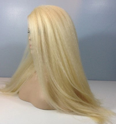 #613 100% Virgin Human Hair Kinky Straight 13x4 Transparent Lace Front Wig