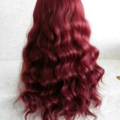 Burgundy 100% Virgin Human Hair Body Wave 13x4 Transparent Lace Front Wig