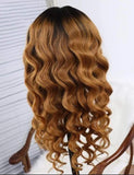 #1B/30 Ombre 100% Virgin Human Hair Loose Wave Full Lace Wig