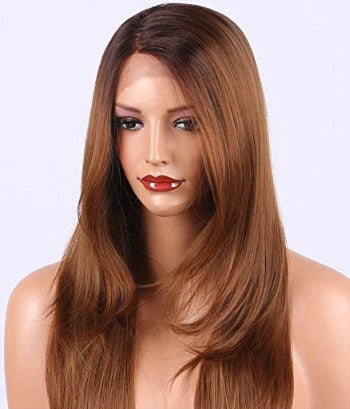 #1B/30 Ombre 100% Virgin Human Hair Straight Full Lace Wig