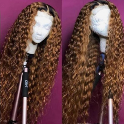 #1B/30 Ombre 100% Virgin Human Hair Water Wave Full Lace Wig