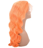 Orange Dreamsicle 100% Virgin Human Hair Body Wave 13x4 Transparent Lace Front Wig