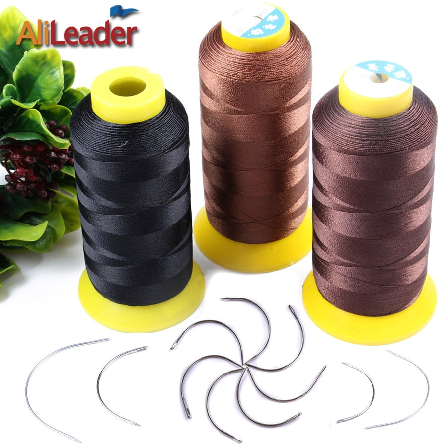 Black/Dark Brown/Light Brown Weaving Thread and Curved Sewing Needles