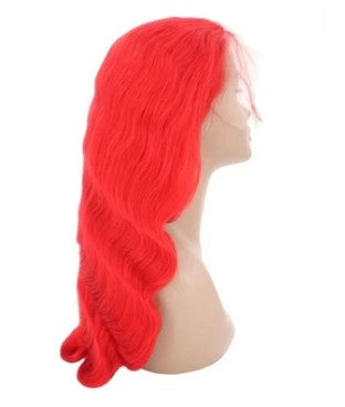Red Flame 100% Virgin Human Hair Body Wave 13x4 Transparent Lace Front Wig