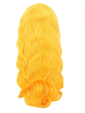 Sunshine Yellow 100% Virgin Human Hair Body Wave 13x4 Transparent Lace Front Wig