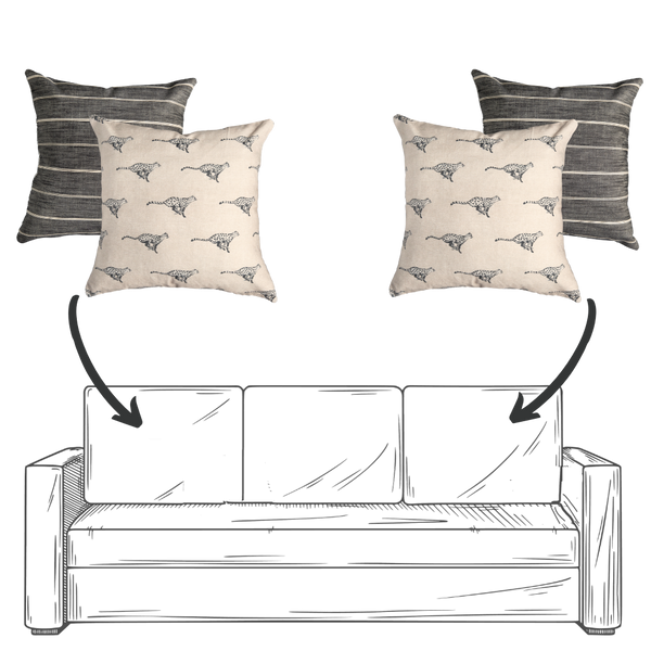 Sofa Pillow Combo - Khaki and Black