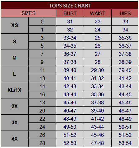Size Chart _Womens Tops