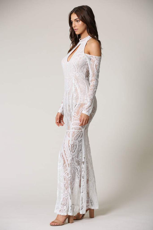 Datherine White Paisley Lace Sheer