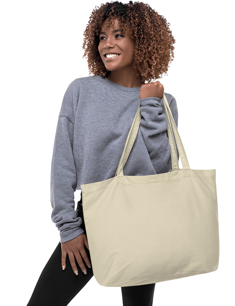Large Wide Certified Organic Cotton Solid 20 x 14 x 5 Eco-friendly Tote Bag - Mercating | Business solutions to achieve more with less