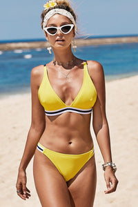 Yellow Ribbon Swimsuit Two-piece Bikini Swimsuit